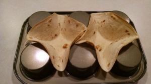 Tostado shells in muffin tin