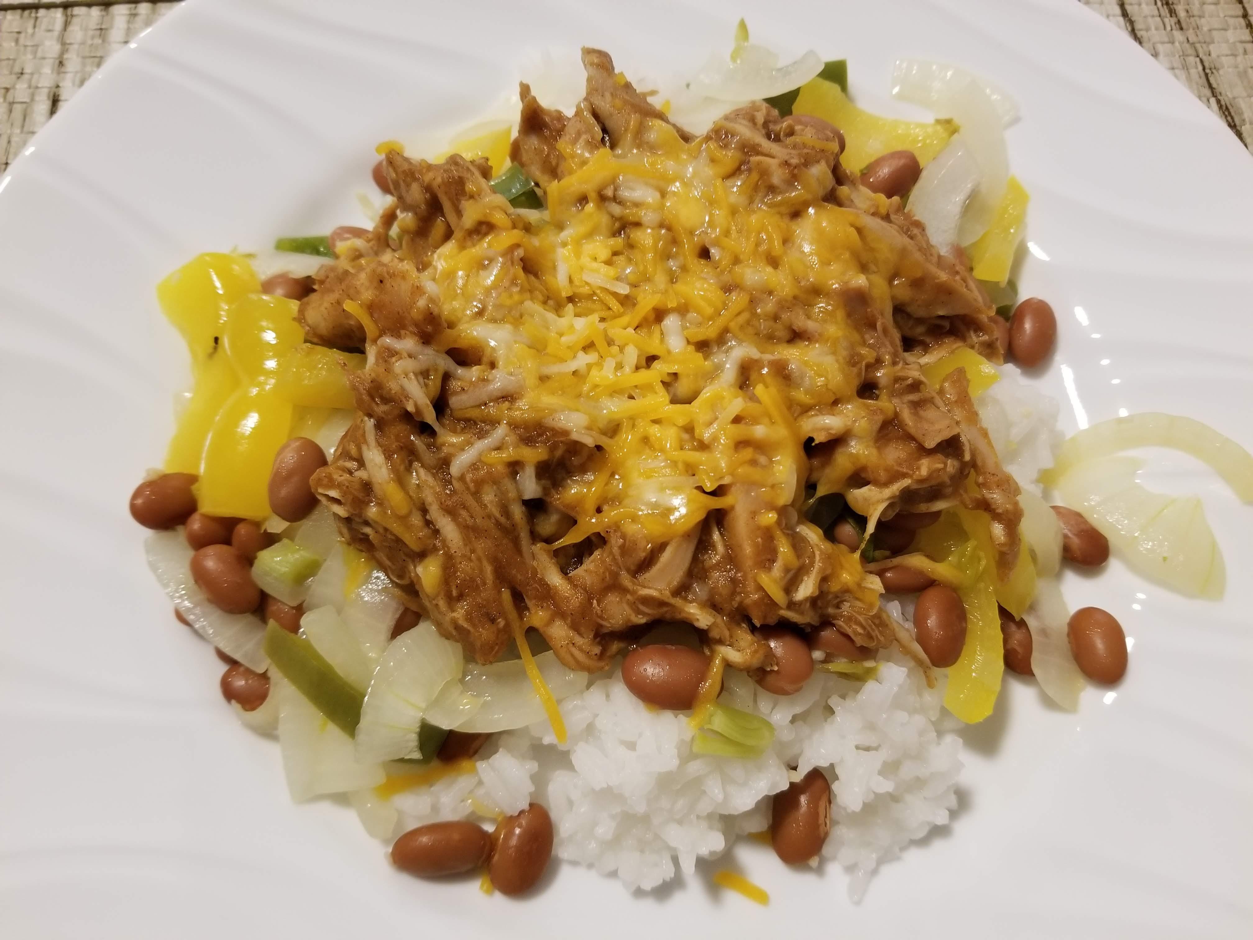 Shredded chick rice beans